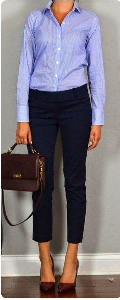 Синие брюки, рубашка, красная сумка, красные туфли