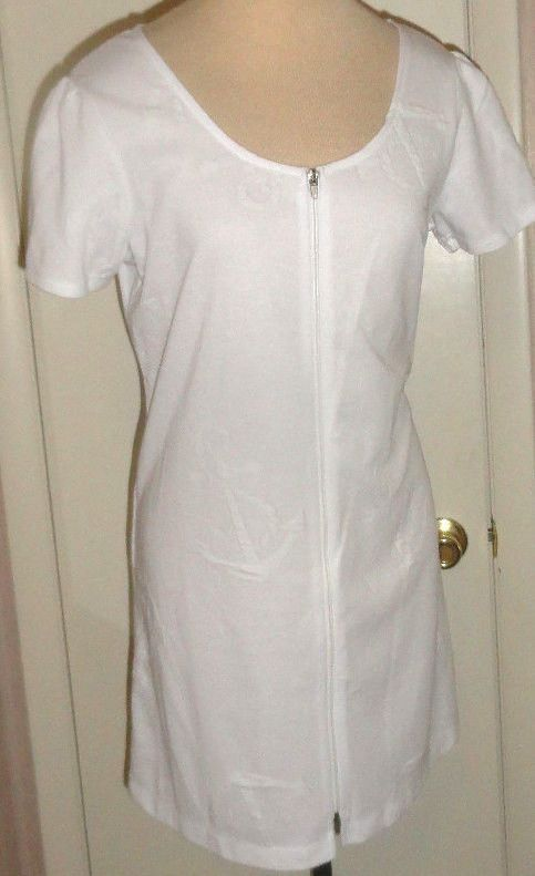 Ladies Wearabouts White Anchor Print Front Zip Swim Suit Cover Up Sizes S, M, L