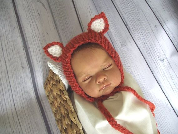 A lovely newborn hat- little fox bonnet, perfect both for newborn boy and newborn girl.