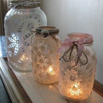 DIYIdeas, Doilies, Lace Mason Jars, Candle Holders, Candles Holders, Teas Lights, Mason Jars Candles, Diy, Crafts