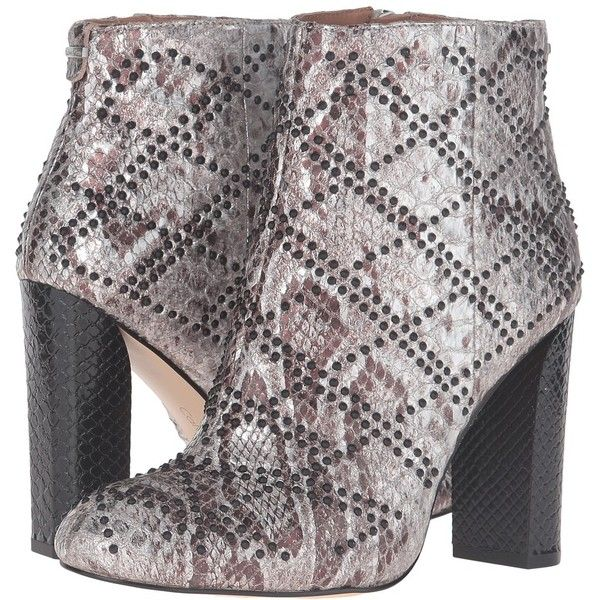 Calvin Klein Jamine (Silver Foiled Snake Print Leather) Women's Shoes (3.839.365 IDR) ❤ liked on Polyvore featuring shoes, boots, ankle booties, chunky heel ankle boots, leather boots, short boots, calvin klein booties and ankle boots