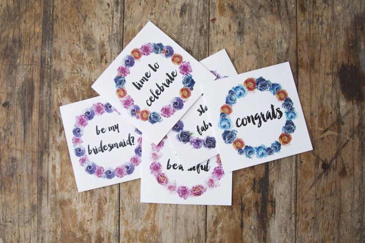 Mixed giftcards Thick, matte and textured card Embossed text and floral wreathe Handpainted, watercolour florals  #giftwrap #wrappingpaper #craft #paper #watercolour #florals #card #giftcards #quotes #inspiration #celebrate #birthday