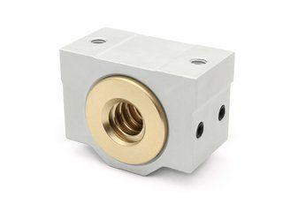 Trapezgewindemutter 10x2 R Rotguss mit Aluminiumgehäuse / Easy-Mechatronics - System 1012A/1012B