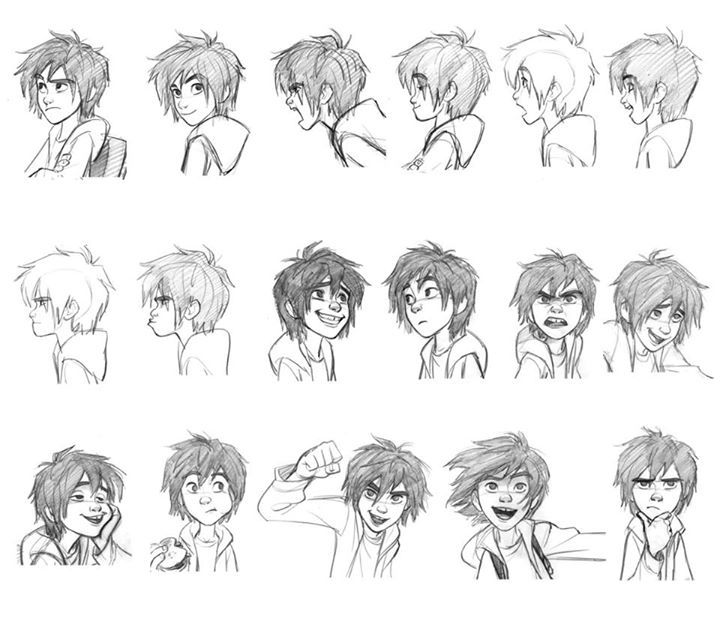 """Hiro"" Expressions Sheet by Jin Kim* Art of © Walt Disney Animation Studios*  • Blog/Website 