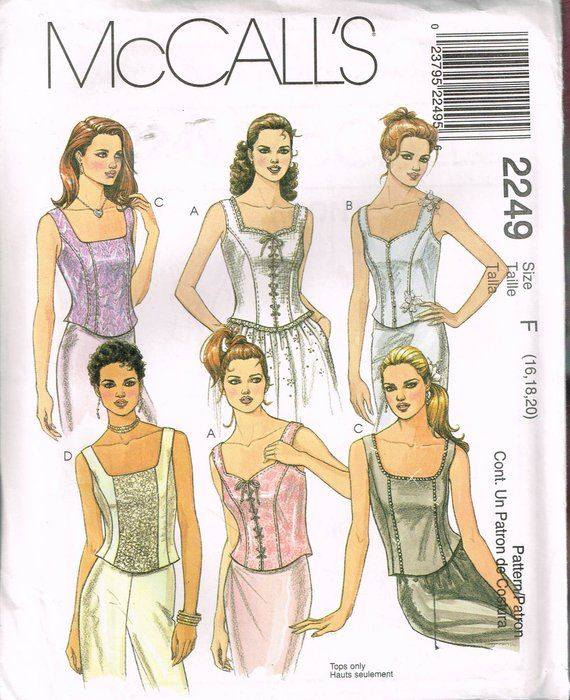 6f96e0a031b Size 16-20 Misses  Plus Size Corset Top Sewing Pattern - Front Lace Up  Corset - Bustier Top Pattern