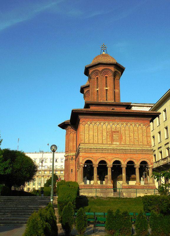 Kretzulescu Church  Romania, Bucharest Easter day on sunset