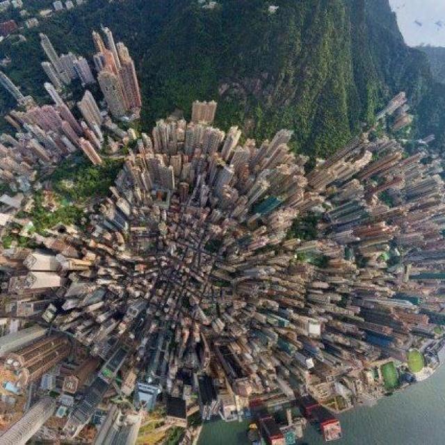 Birds eye view of Hong Kong
