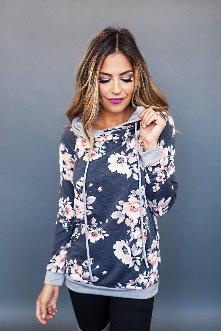Charcoal Vintage Floral Sweatshirt - Dottie Couture Boutique
