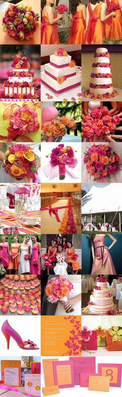 Színes esküvők   pink és narancs székszoknya rózsaszín menyasszonyi csokor pink menyasszonyi csokor pink esküvői meghívó narancs esküvői meghívó menyasszonyi csokor koszorúslány csokor esküvői torta esküvői asztaldísz