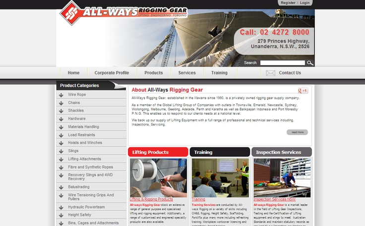 All-Ways Rigging Gear is a privately owned rigging gear supply company and is a member of the Global Lifting Group of Companies with outlets in Townsville, Emerald, Newcastle, Sydney, Wollongong, Melbourne, Geelong, Adelaide, Perth and Karatha as well as Balikpapan Indonesia and Port Moresby P.N.G. The Creative Collective Newcastle developed a sophisticated new website for All-ways Rigging showcasing their huge range. We also worked with them on SEO and have achieved great results.