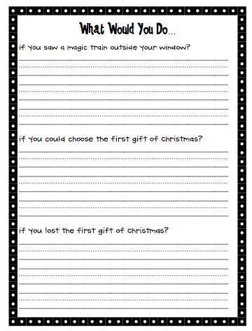 Polar express writing activities first grade