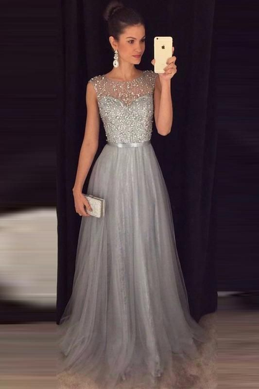3fbcef79843b Browse Our Large Selection of Prom Dresses,Cheap A-line Gray Sleeveless  Tulle Beading Long Formal Dress,Prom Dresses,Gray Dresses,at  Simibridaldresses.com