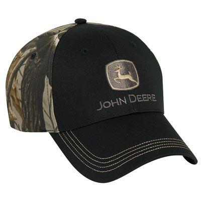 John Deere Black and Camo Cloth Cap
