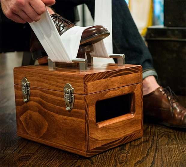American Shine Box £170.  A nice bit of wood to keep your shoe polish in. I'll stick to my old biscuit tin though