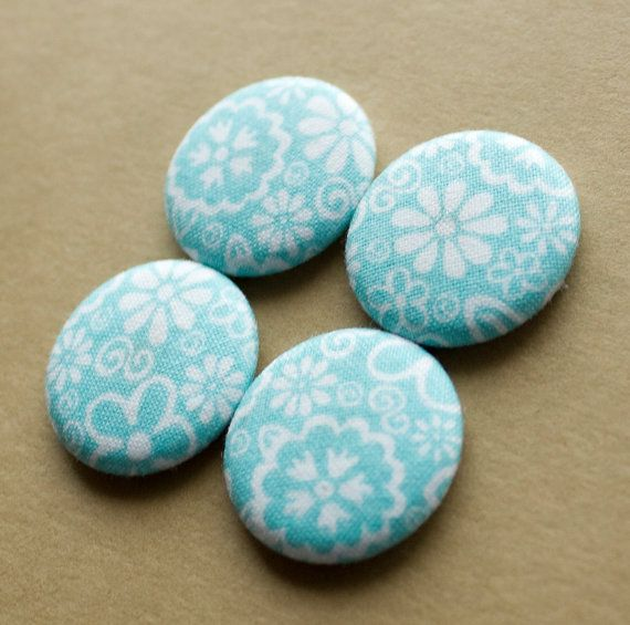 Light Blue and White Floral Polka Dot Magnets  set of by HowlOwl.