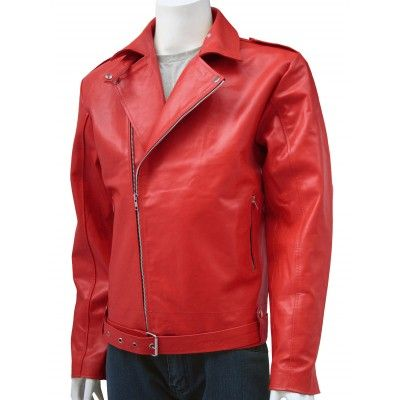 Bikerwear Red Leather Jacket Men's