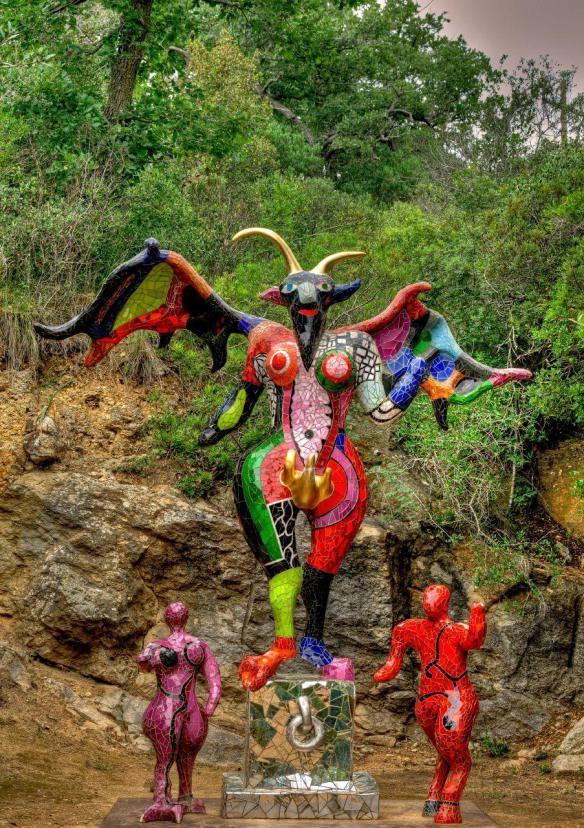 Niki de Saint Phalle's Devil sculpture as part of her Tarot Sculpture Garden in the hills of Tuscany.