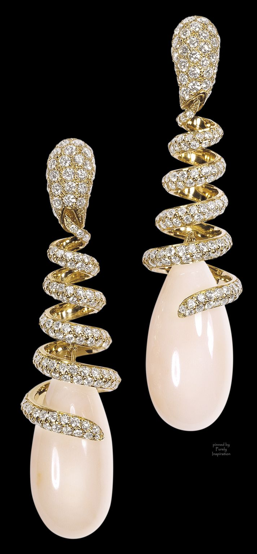 de Grisogono Earrings ~ yellow gold, white diamonds, coral drops | Purely Inspiration