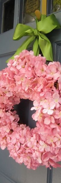 So easy to DIY with faux hydrangeas from Hobby Lobby: The Doors, Pink Hydrangeas, Doors Decor, Heart Wreaths, Front Doors, Spring Wreaths, Flowers, Pink Wreath, Hydrangeas Wreaths