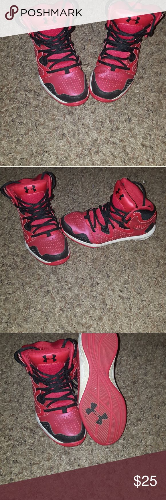 Under Armour Boys Basketball Shoes Size 4.5Y Red and Black, never worn off of a basketball court Under Armour Shoes Athletic Shoes