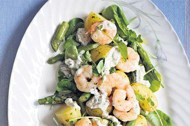 Prawns with spring potato salad