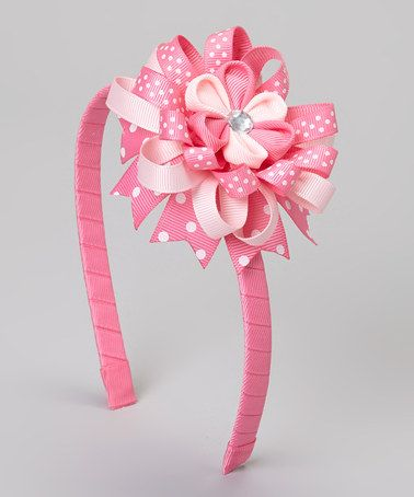 Love this Pink Polka Dot Flower Headband on #zulily! #zulilyfinds