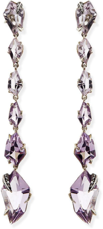 Alexis Bittar Fine Cool Heather Marquise Amethyst & Diamond Linear Kite Drop Earrings