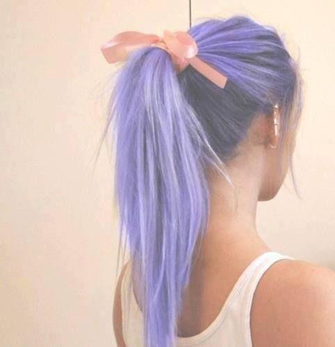 Beautiful pony tail in Pastel Purple hair