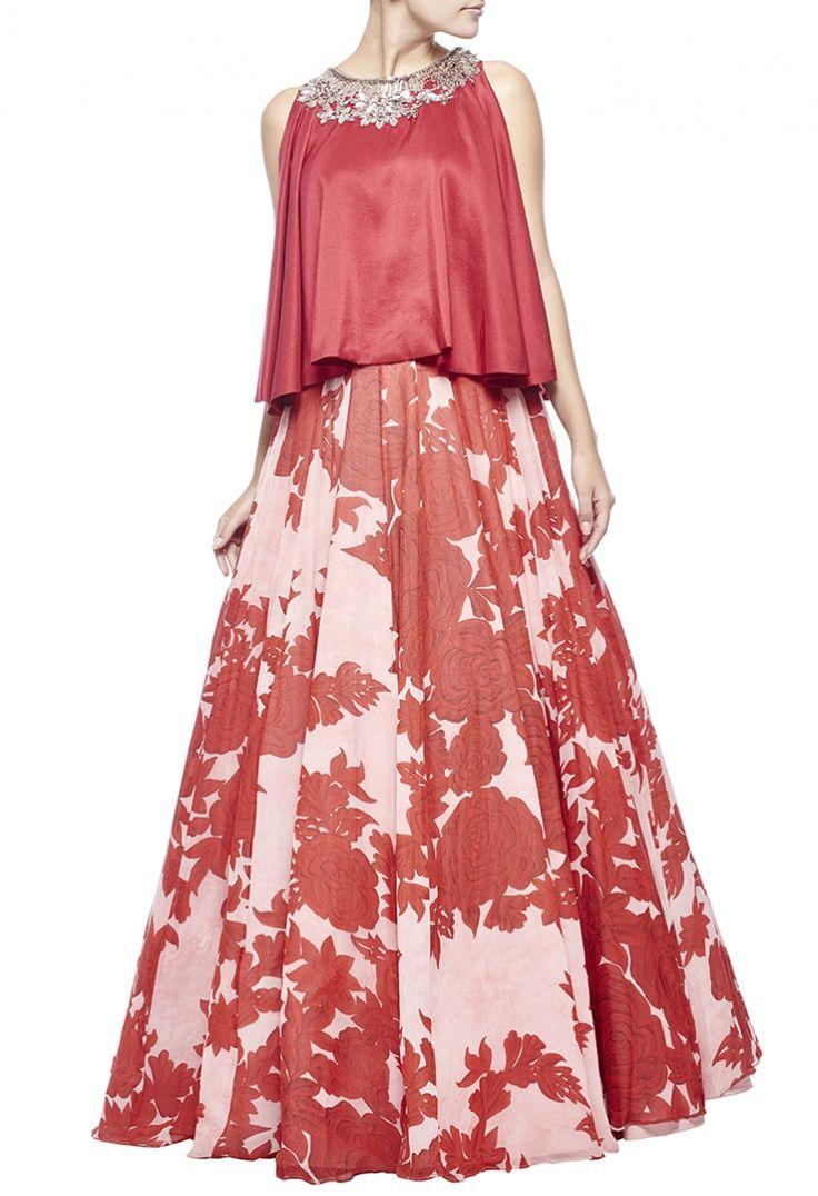 Light pink & red floral printed embellished lehenga set by Manish Malhotra - Shop at Aza