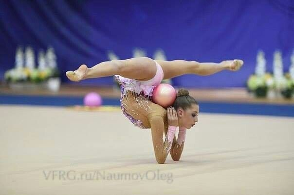 The gymnast is ready.