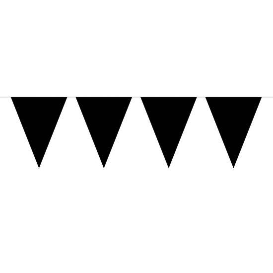 Vlaggenlijn XL zwart. Deze zwarte vlaggenlijn is gemaakt van plastic en heeft een lengte van 10 meter. De vlaggenlijn bevat 15 vlaggetjes met een afmeting van 42 x 28 cm. Geschikt voor binnen gebruik.
