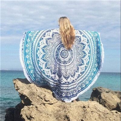 Women Beach Gypsy Bikini Cover Up Scarf Round Beach Towel Bohemia Scarves Cotton shawl Table Cloth Mat Cloth