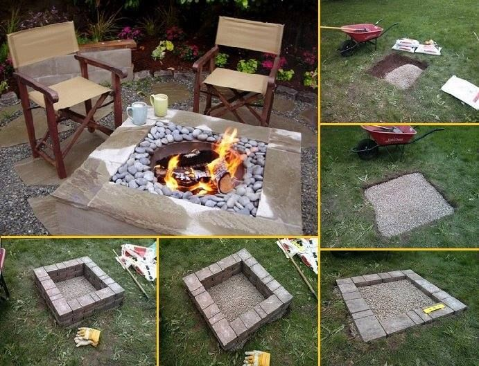 DIY Square Fire Pit Project! Want to put in a gorgeous firepit? Check out this pretty project...