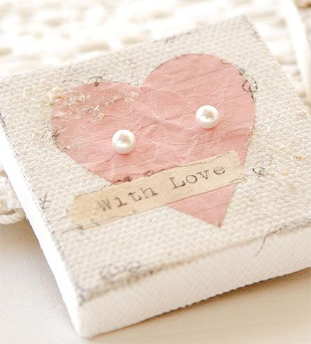 Mini mixed-media canvas, perfect for pearls this Valentine's Day