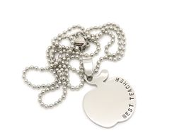 Personalised Teachers Apple Necklace
