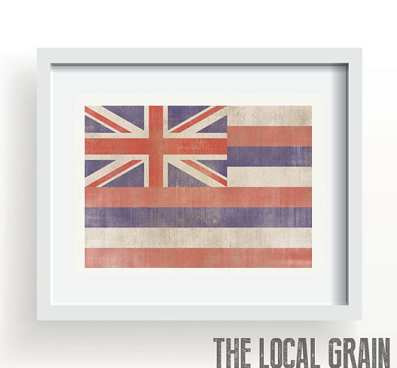 Hawaii Flag Print by TheLocalGrain on Etsy