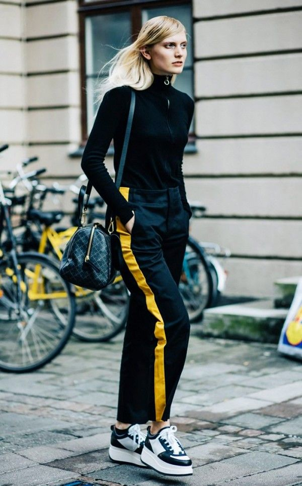Contrast with a pair of side-stripe pants.