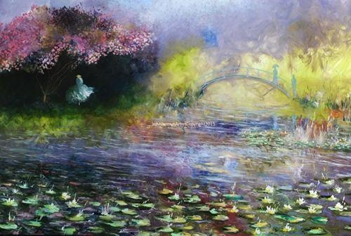 Title: 'As tu vu Daisy?' (Based on  Monet Garden) 72'' x 48'', large canvas Euro 3400, unframed