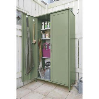 欧風収納ベンチ&収納庫〈セージグリーン〉 収納庫高さ168cm 通販 - ディノス
