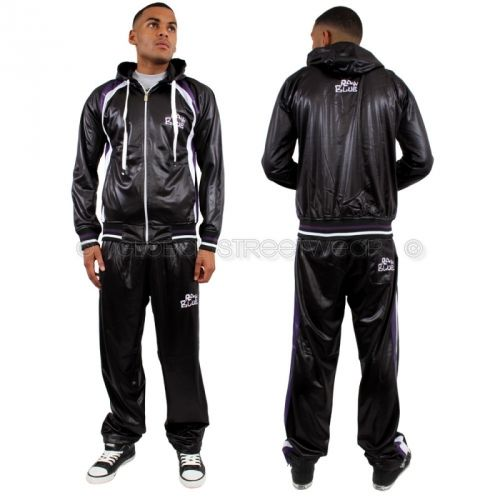 Raw Blue Full Zip Shiny Tracksuit Black | Global Streetwear Online Store for Urban, Hip hop Fashion Clothing