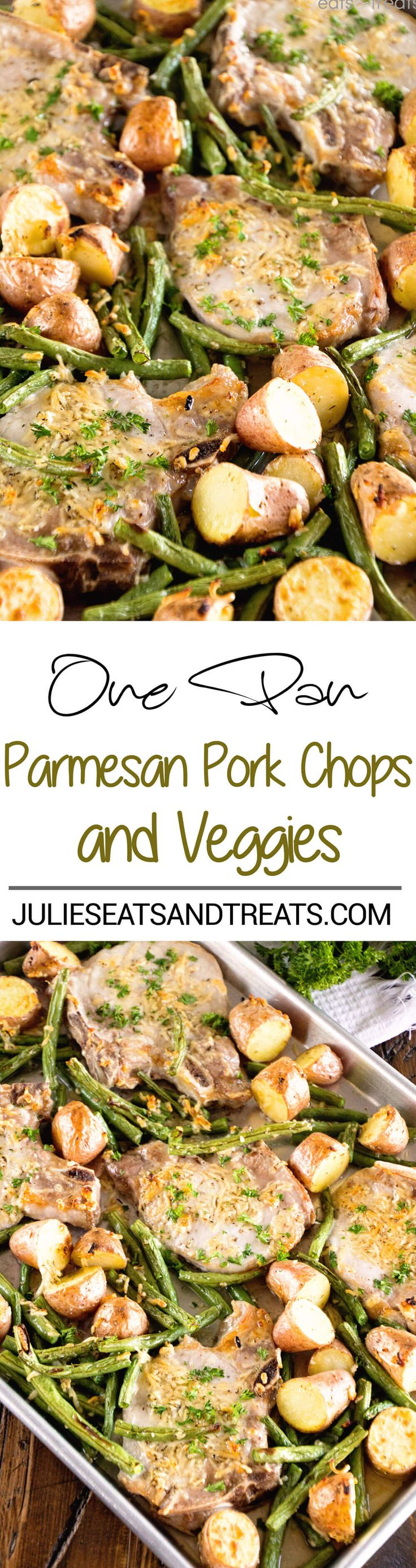 One Pan Parmesan Pork Chops and Veggies Recipe ~ Juicy Pork Chops Baked in the Oven with Potatoes and Veggies Seasoned with Garlic, Thyme and Parmesan! Dinner ready in 30 Minutes! ~ http://www.julieseatsandtreats.com