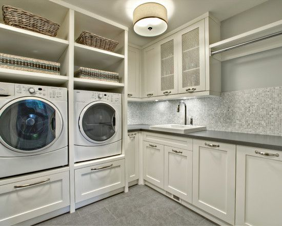 Built in laundry shelves pedestal