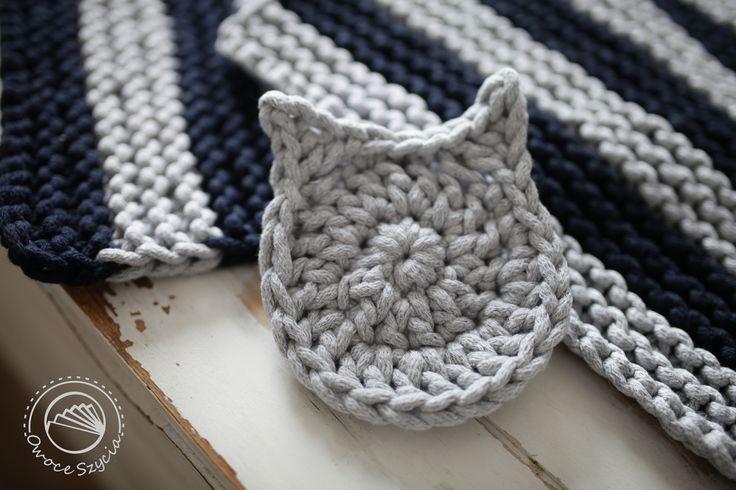 podkładka pod kubek - kot robiona na szydełku   crochet cat :)