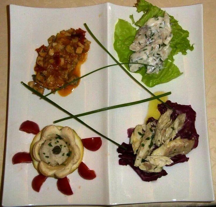 Assaggio di antipasto di branzino /seabass starters taste