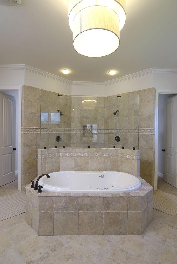 Master Bathroom: Tub With Walk Through Shower Behind It. Prefer Taller Wall  To Incorporate Fountain Feature.