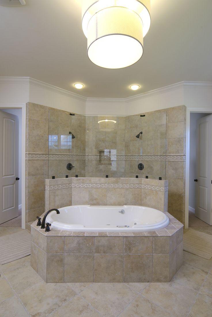 Regency Homebuilders : Open Concept Living, Large Master Bathroom, Tile, Ceramic Tile, Recessed Lighting, Granite, Tub, Double Shower, Oil Rubbed Bronze {White Oak Subdivision - Magnolia Plan}