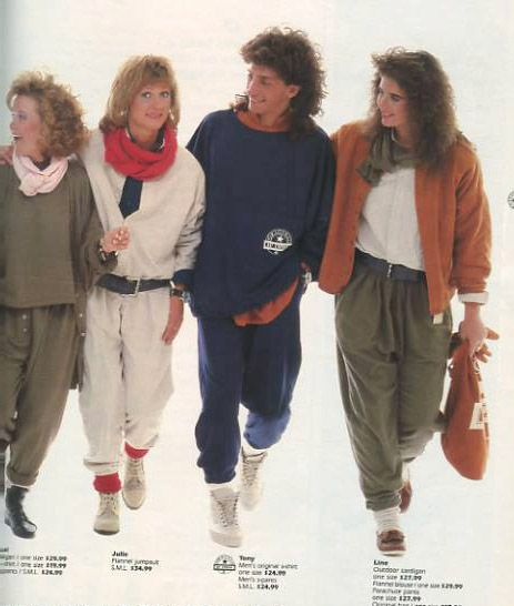 80's baggy clothes. I remember this--it was an Esprit ad.