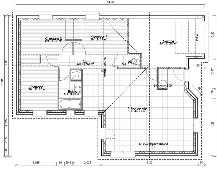 Plan maison contemporaine basse consommation plans de for Plan maison bbc