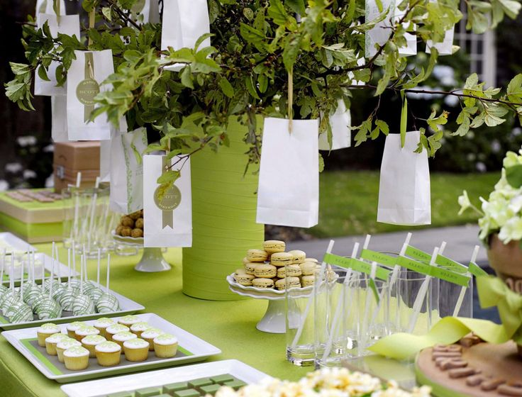 Lime green party buffet table