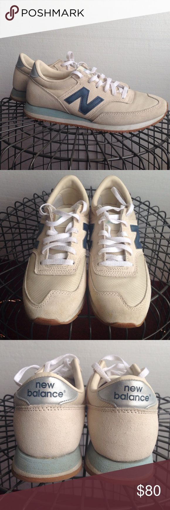 JCREW NB sneakers Jcrew designed NB sneakers. Cream and blue. Laces are basically snow white. Still nice and clean New Balance Shoes Sneakers